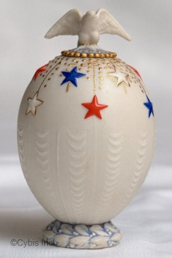 EGG VASE WITH EAGLE LID by Cybis