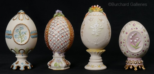 four ANNUAL DECORATED EGGS by Cybis