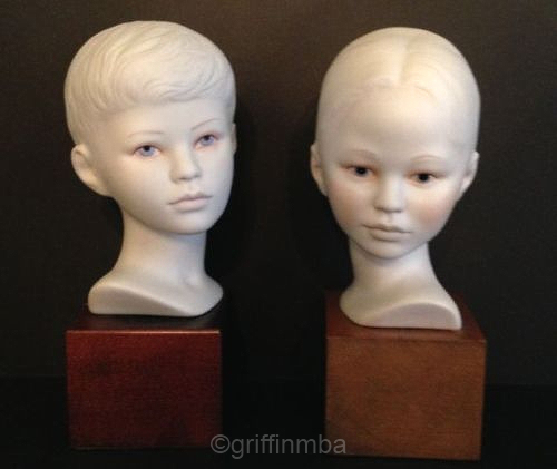 HEAD OF BOY and GIRL ca 1970s by Cybis