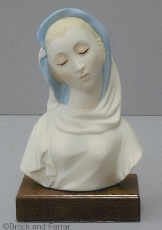 circa 1960s MADONNA WITH BLUE VEIL ON BASE by Cybis