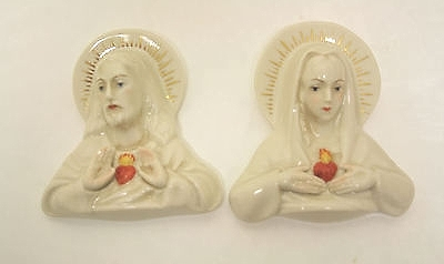 SACRED HEART and IMMACULATE HEART wall plaques by Cybis