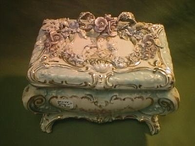 1939 ornate floral porcelain box by CYBIS