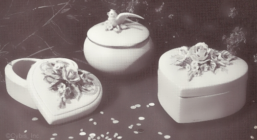 1950s HEART BOX large and small and POWDER BOX WITH BIRD by Cybis