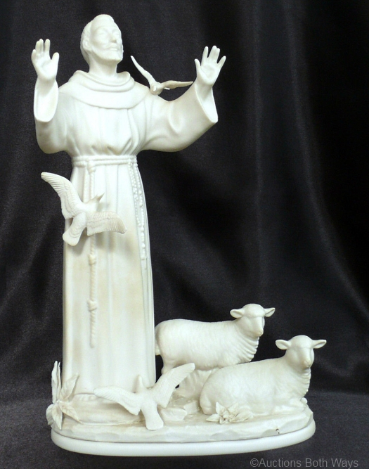ST FRANCIS WITH DOVES AND LAMBS by Cybis