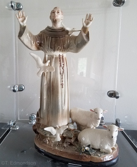 St Francis with Doves and Lambs in color by Cybis