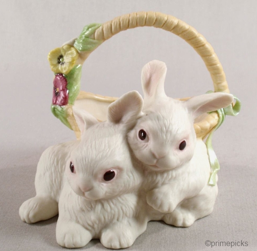 A TISKET A TASKET bunny basket vase by Cybis
