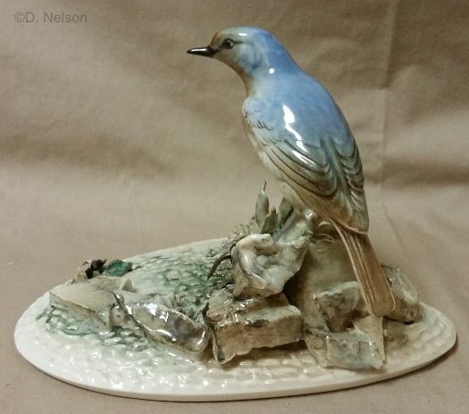 BLUEBIRD BY THE GARDEN WALL by Cybis circa 1950s view 1