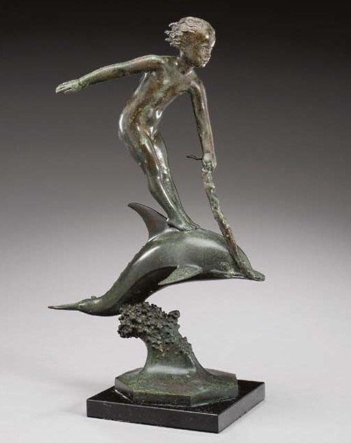 Boy and Dolphin bronze by Carl Paul Jennewein ca early 20th century