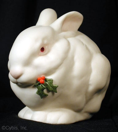 BUNNY MR SNOWBALL WITH HOLLY by Cybis