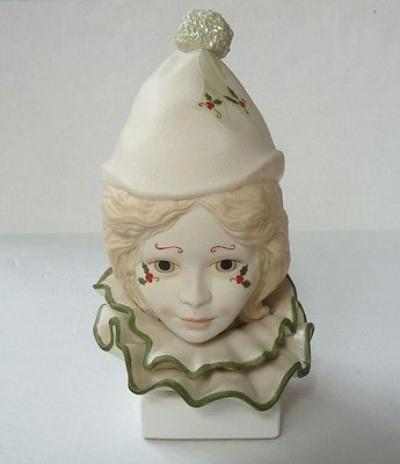 CHILD CLOWN HEAD VALENTINE WITH HOLLY by Cybis