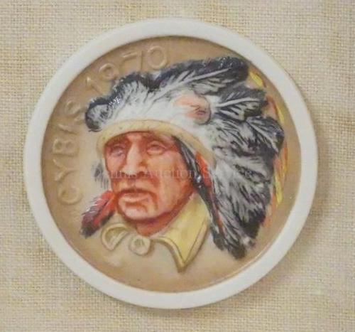 color Comanche chief porcelain medallion by Cybis