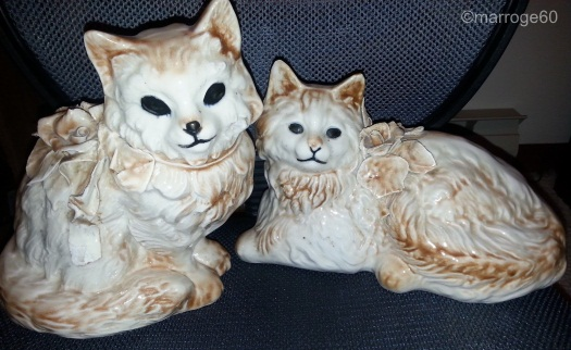 Cordey cats in brown glaze ca 1940s