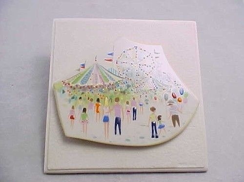 COUNTRY FAIR Limnette plaque by Cybis on porcelain mount