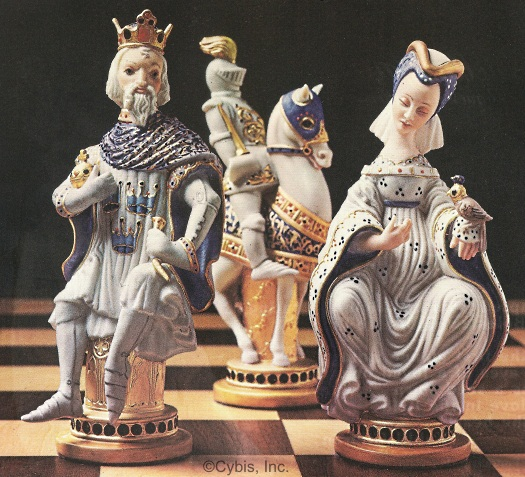 Cybis 1979 commemorative chess set King Queen and Knight