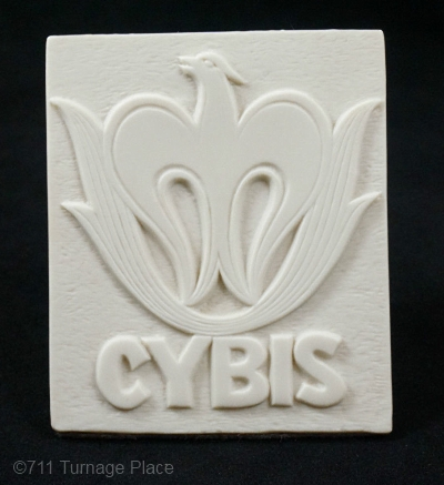 Cybis dealer sign 1980 white bisque vertical phoenix