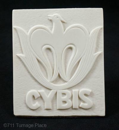 Cybis dealer sign 1980 white bisque vertical phoenix