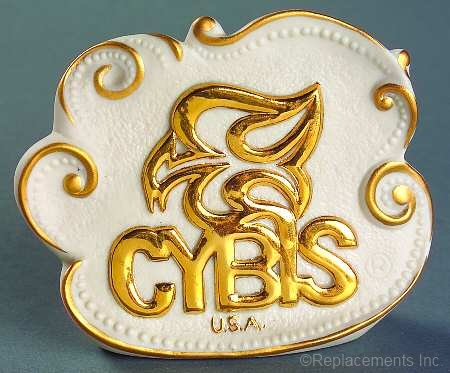 Cybis dealer sign freeform white and gold 1990s