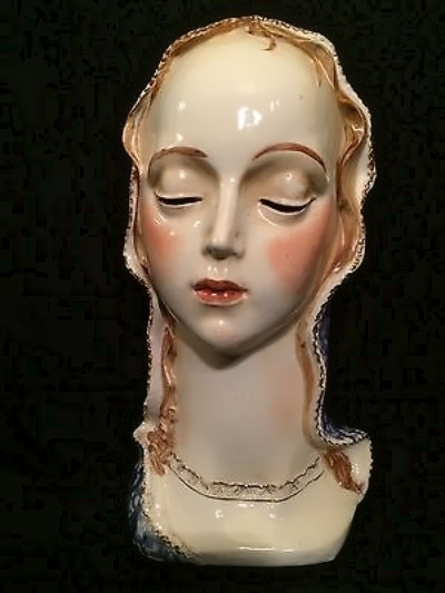 MADONNA BUST with cutout eyes 1940s or 50s by Cybis view 1