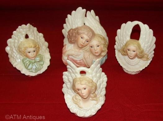 four annual ANGEL ORNAMENTS by Cybis
