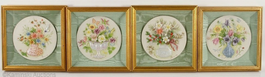 Four Seasons framed plaques set by Cybis
