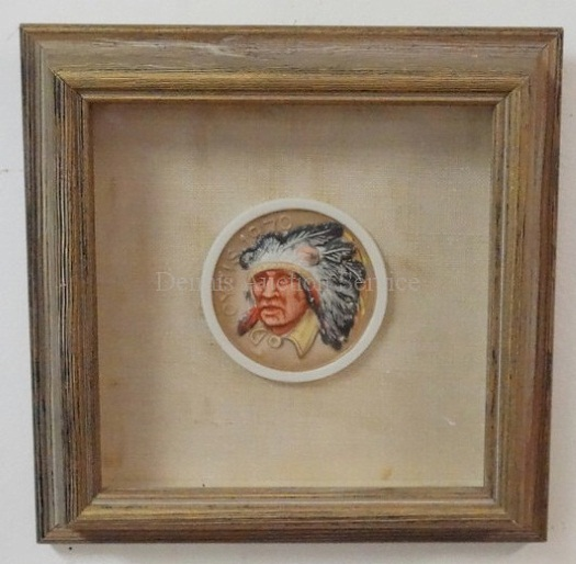 framed color Comanche chief medallion by Cybis