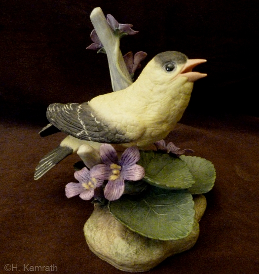 GOLDFINCH WITH VIOLETS by Cybis