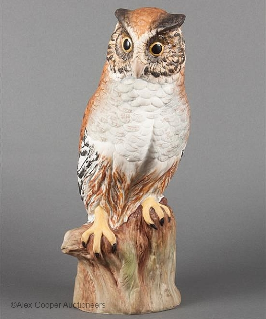 GREAT HORNED OWL in color circa 1950s by Cybis