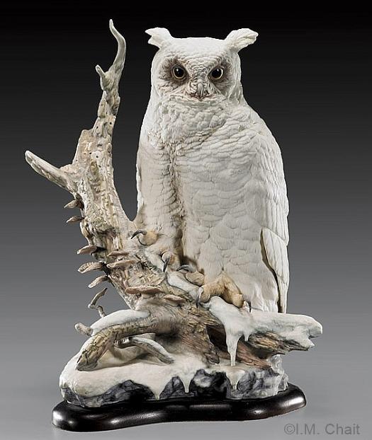 GREAT HORNED OWL KOOS KOOS KOOS in white by Cybis