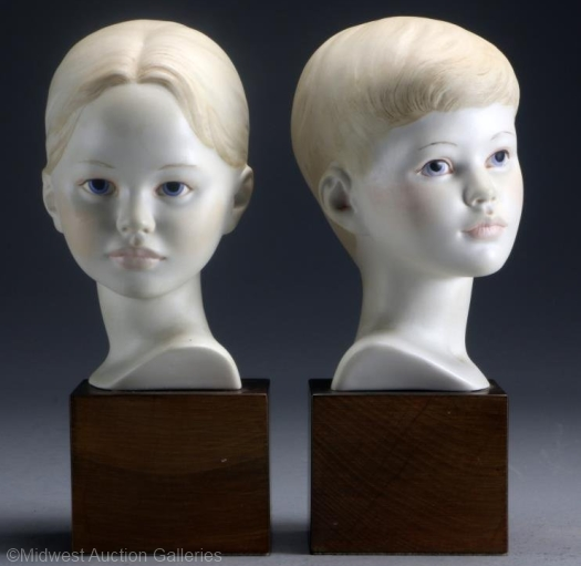 Head of Boy and Head of Girl by Cybis with colored hair