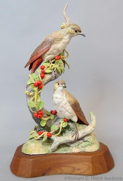 HERMIT THRUSH WITH CRANBERRY COTONEASTER by Cybis