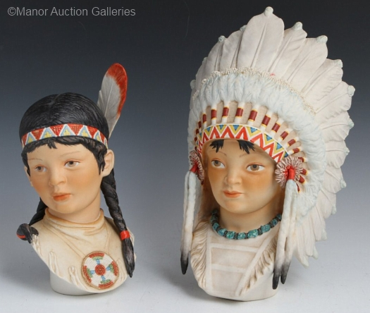 INDIAN BOY HEAD LITTLE EAGLE and INDIAN GIRL HEAD RUNNING DEER by Cybis