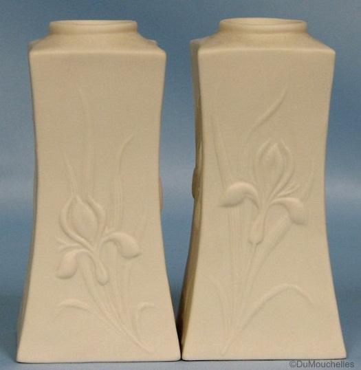 Iris Candlesticks in white bisque by Cybis