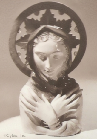 THE ANNUNCIATION with Wooden Halo madonna bust by Cybis