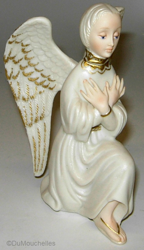 KNEELING ANGEL ca 1950s 1960s in white and gold by Cybis