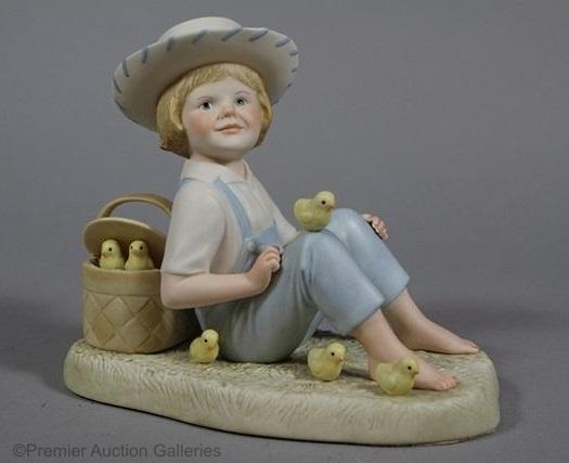 LITTLE JAMIE boy with chicks by Cybis