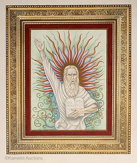 Moses watercolor by Cyndy Bohonovsky based on Cybis porcelain plaque