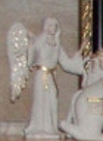 NATIVITY ANGEL III STANDING in white and gold by Cybis
