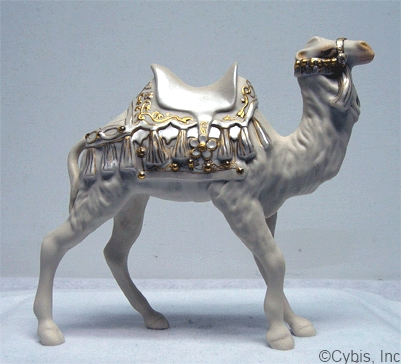 NATIVITY CAMEL II circa late 1980s in white and gold by Cybis