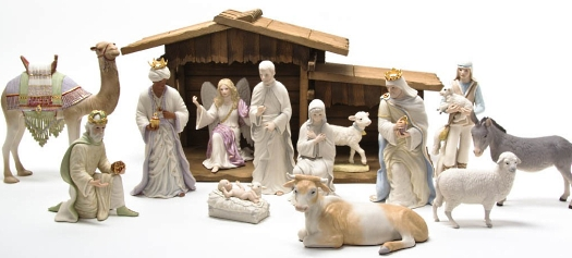NATIVITY II FIRST CHRISTMAS partial set in color by Cybis
