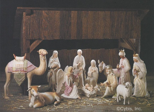 NATIVITY SET THE FIRST CHRISTMAS in color with stable by Cybis