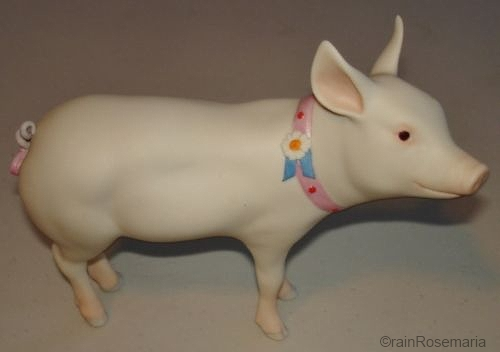 PERCY THE BLUE RIBBON PIG by Cybis