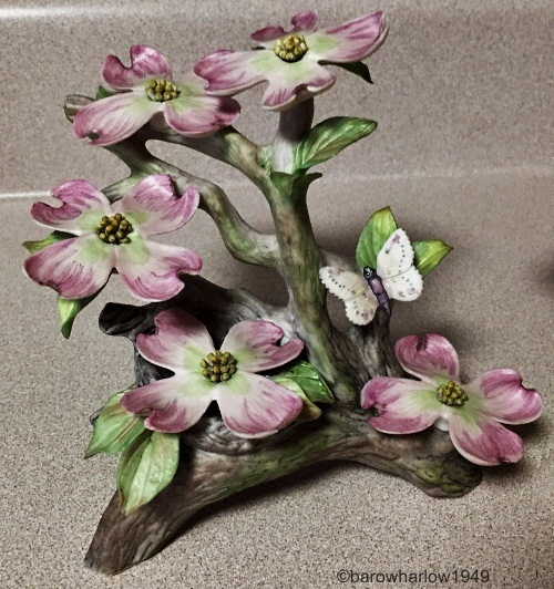 Pink Dogwood with Butterfly in darker colorway