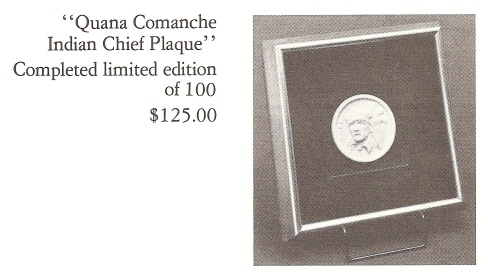 QUANA COMANCHE INDIAN CHIEF framed medallion by Cybis