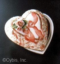 ROMANCE HEART BOX with flowers by Cybis