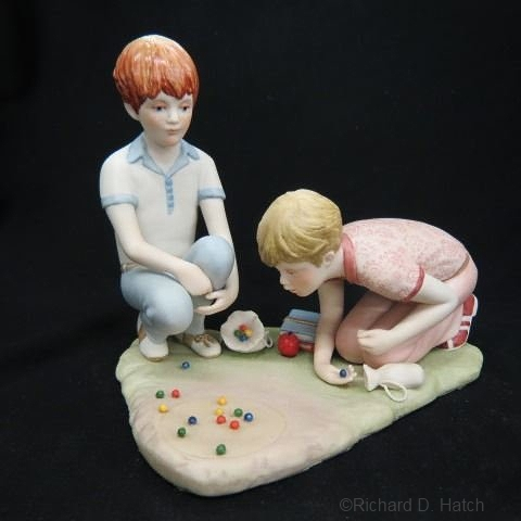 RUSTY AND JONNY Boys Playing Marbles by Cybis