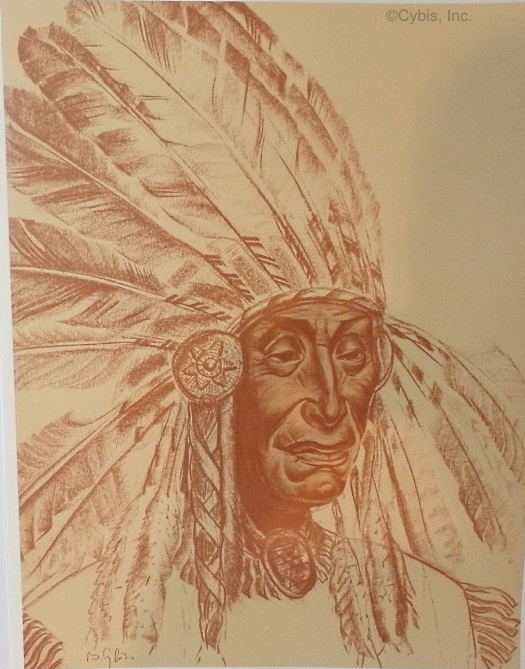 SILENT THOUGHTS Shoshone chieftain portrait by Cybis Folio One