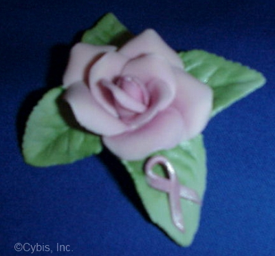 Small RIBBON OF HOPE ROSE by Cybis