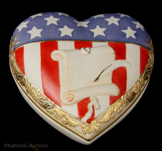 STARS AND STRIPES heart box by Cybis