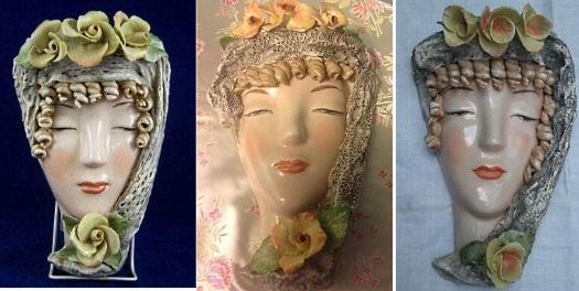three Cordey lady face wall masks