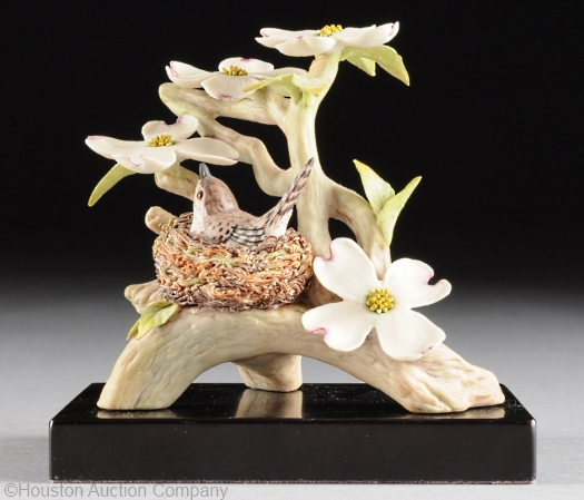 WOOD WREN WITH DOGWOOD ON BASE by Cybis